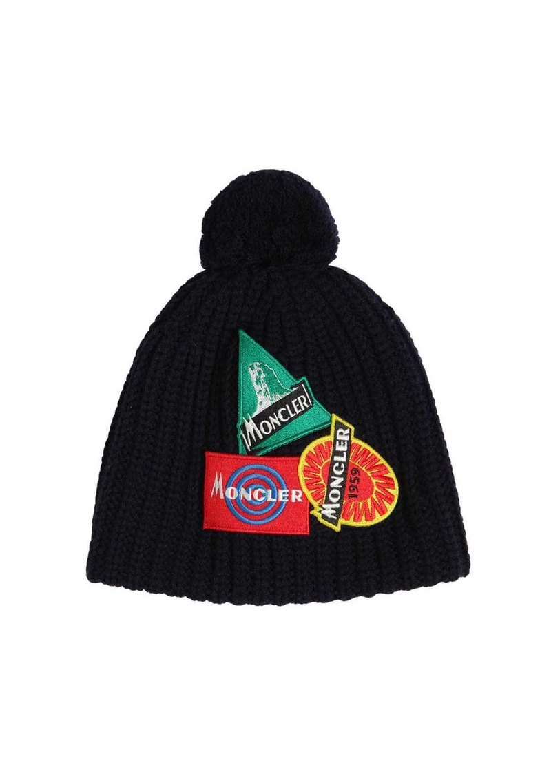 Moncler Knit Wool Beanie Hat W/ Patches