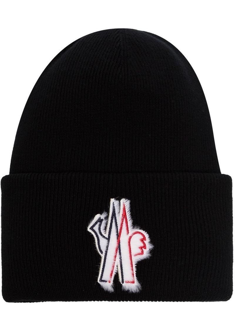 Moncler logo appliqué beanie hat