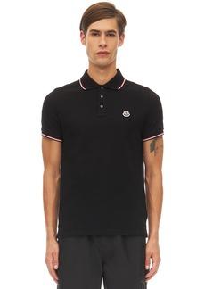 Moncler Logo Patch Cotton Piqué Polo Shirt