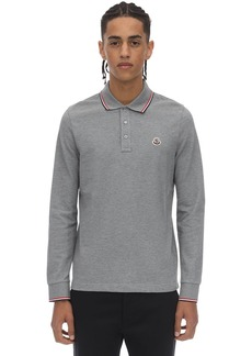 Moncler Logo Patch Cotton Polo Pique Ls Shirt