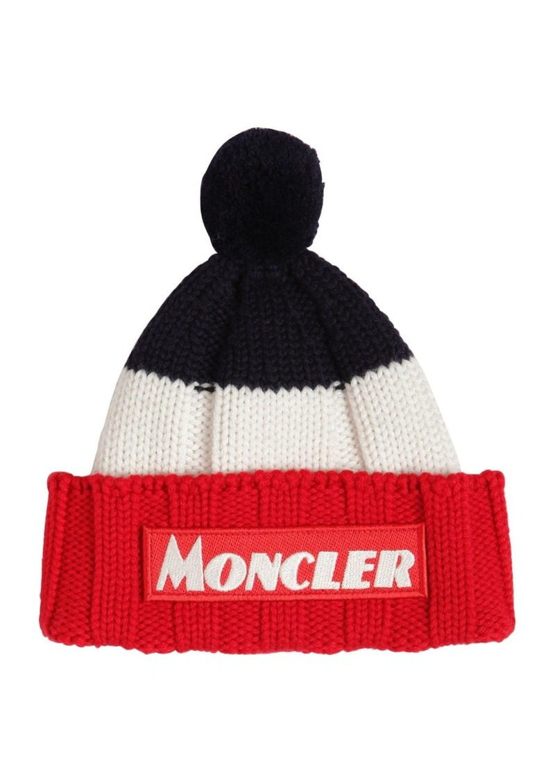 Moncler Logo Patch Knit Wool Beanie Hat