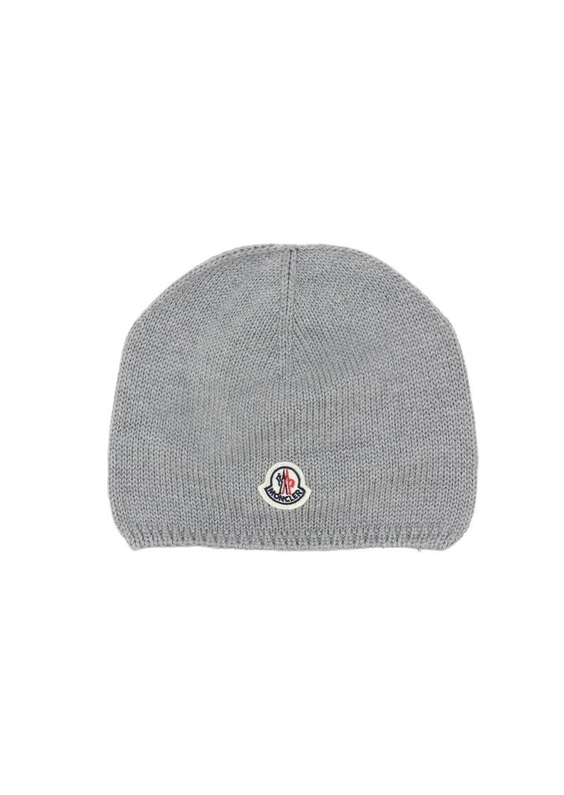 Moncler Logo Patch Virgin Wool Beanie Hat