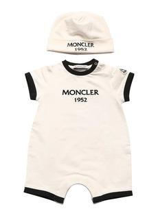 Moncler Logo Print Cotton Jersey Romper & Hat