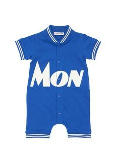Moncler Logo Print Cotton Piquet Romper