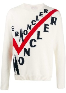 Moncler logo ribbed crew neck jumper