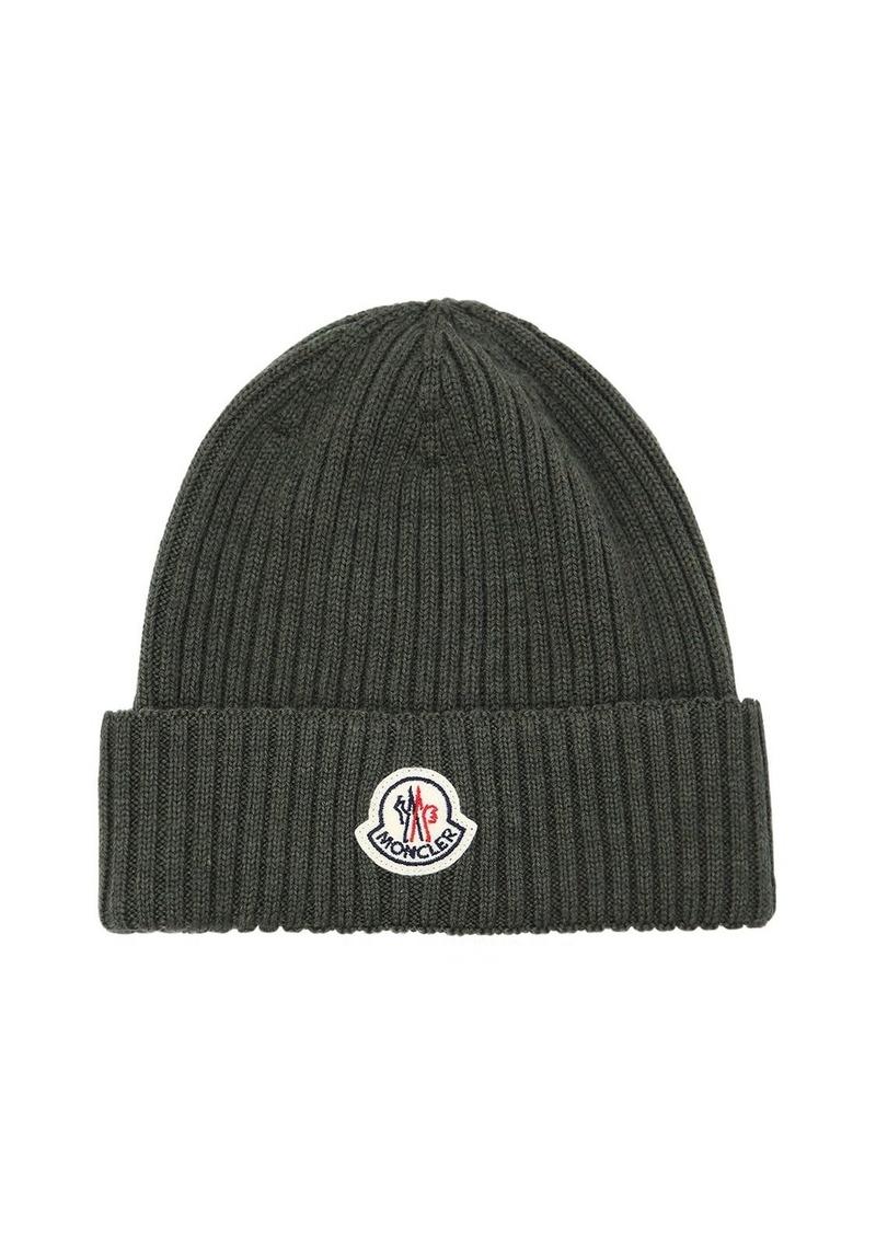 b9196620fc4 Moncler Logo Wool Rib Knit Beanie Hat