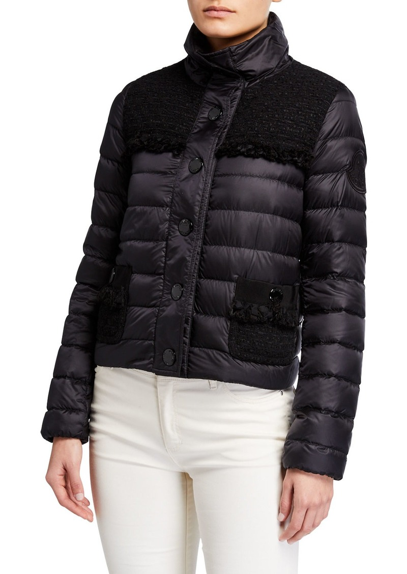 Moncler Lunaire Frilly-Trim Cropped Puffer Jacket