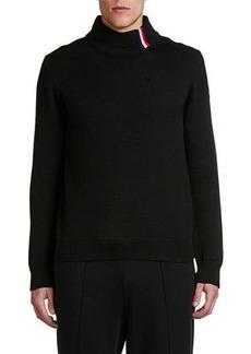 Moncler Men's Flag-Stripe Mock-Neck Sweater