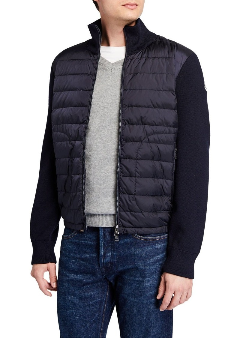Moncler Men's Puffer Zip-Front Sweater