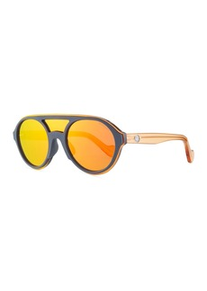 Moncler Men's Round Shield Mirrored Sunglasses