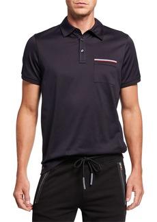 Moncler Men's Striped-Pocket Polo Shirt