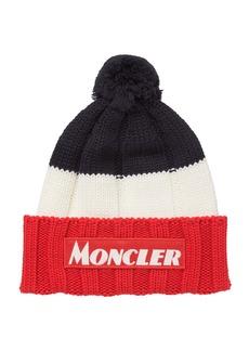 Moncler Men's Tricolor Chunky Pom Beanie Hat