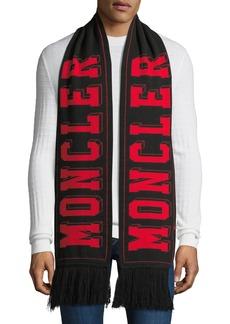 Moncler Men's Tricot Wool Logo Scarf w/ Fringe