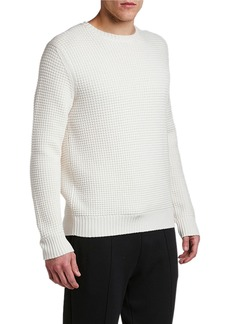 Moncler Men's Waffle-Knit Wool Sweater