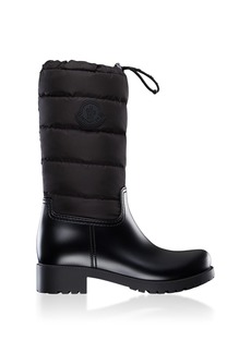 Moncler - Women's Ginette Leather Puffer Boots - Black - Moda Operandi