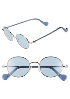Moncler 49mm Round Metal Sunglasses