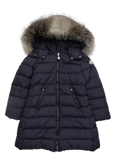 Moncler Abelle Down Coat with Genuine Blue Fox Fur Trim (Little Girl & Big Girl)