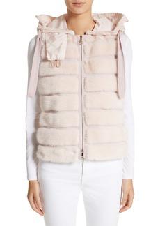 Moncler Ametrine Wool & Cashmere Vest with Genuine Mink Fur Trim & Removable Hood
