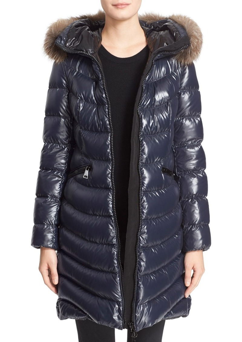 a2cbe14f3 'Aphia' Water Resistant Shiny Nylon Down Puffer Coat with Removable Genuine  Fox Fur Trim