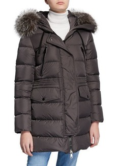 Moncler Aphroti Detachable Fur-Trim Hooded Puffer Coat
