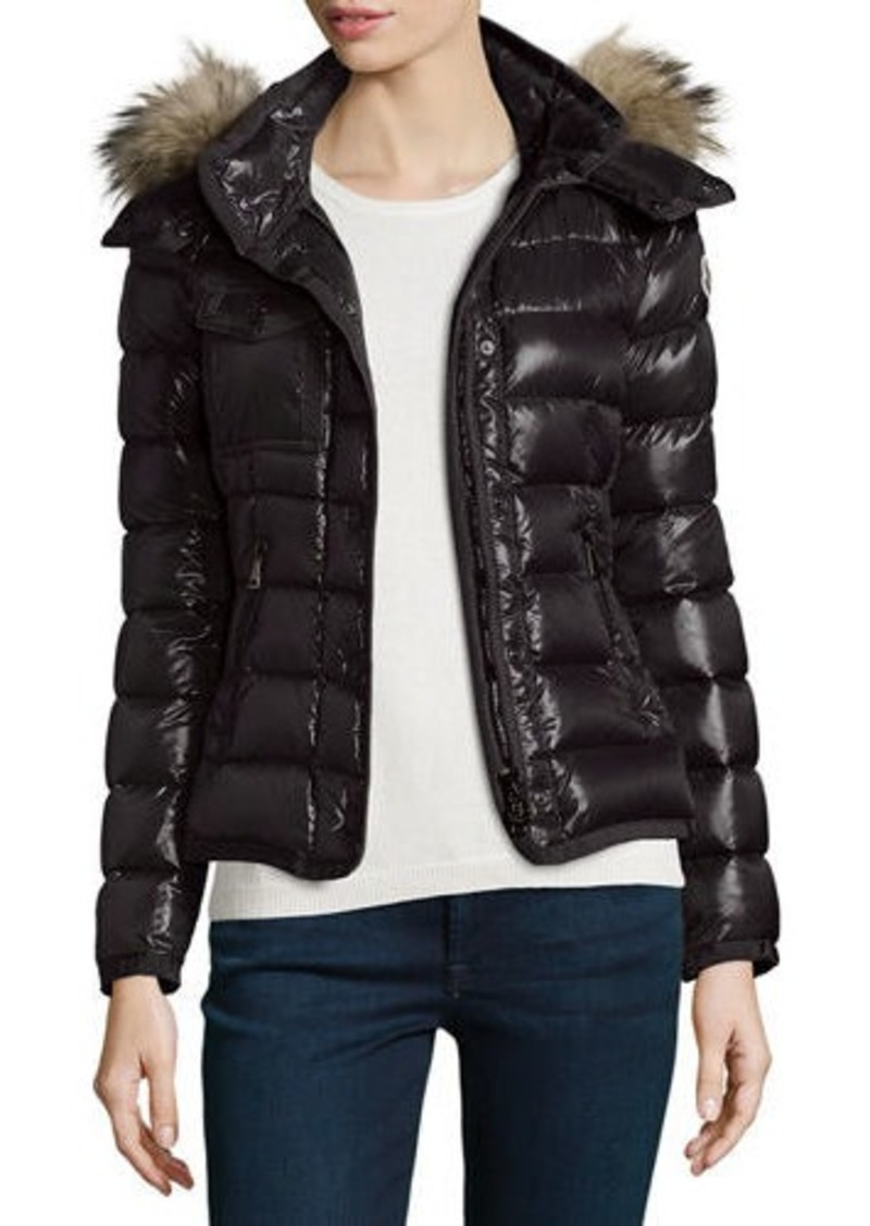 e5ac1324f Moncler Armoise Shiny Quilted Jacket w Fur Hood