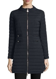 Moncler Aubritch Lightweight Quilted Long Puffer Coat