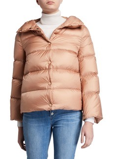 Moncler Aude Snap-Placket Puffer Coat