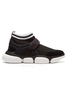 Moncler Baktha suede and mesh bubble-sole trainers