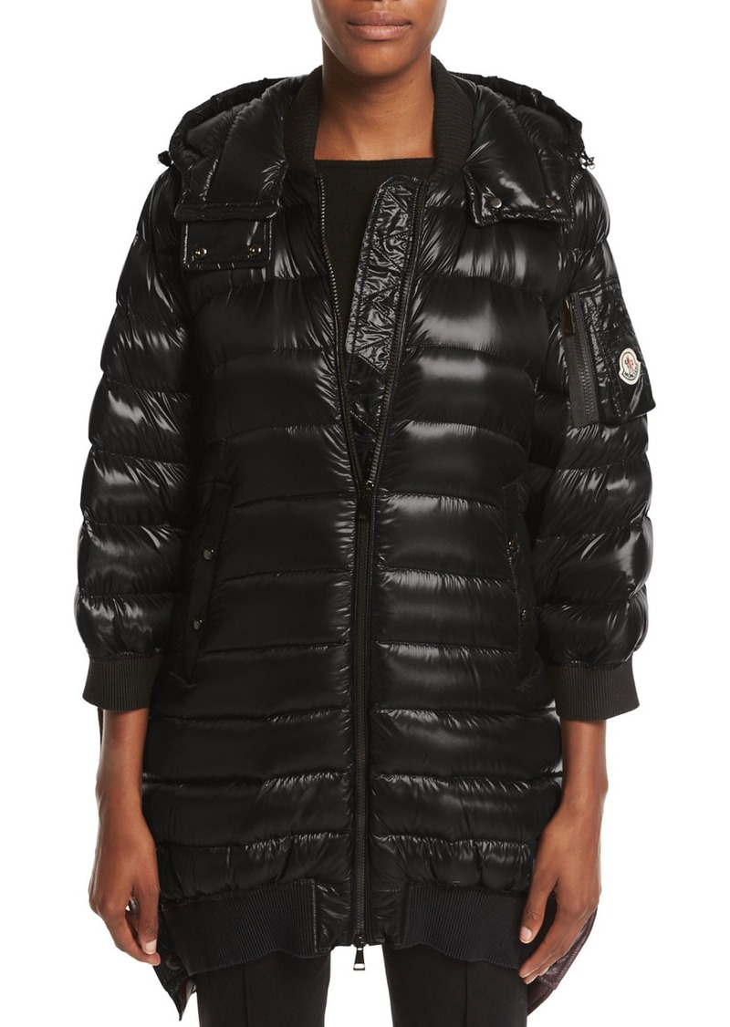 377de6972 Bamboo Shiny Side-Snap Quilted Puffer Jacket