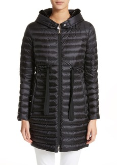 Moncler Barbel Hooded Down Coat with Genuine Mink Fur Trim