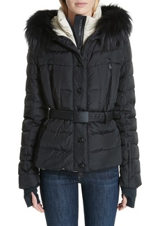 Moncler Beverley Genuine Fox Fur Trim Quilted Down Coat