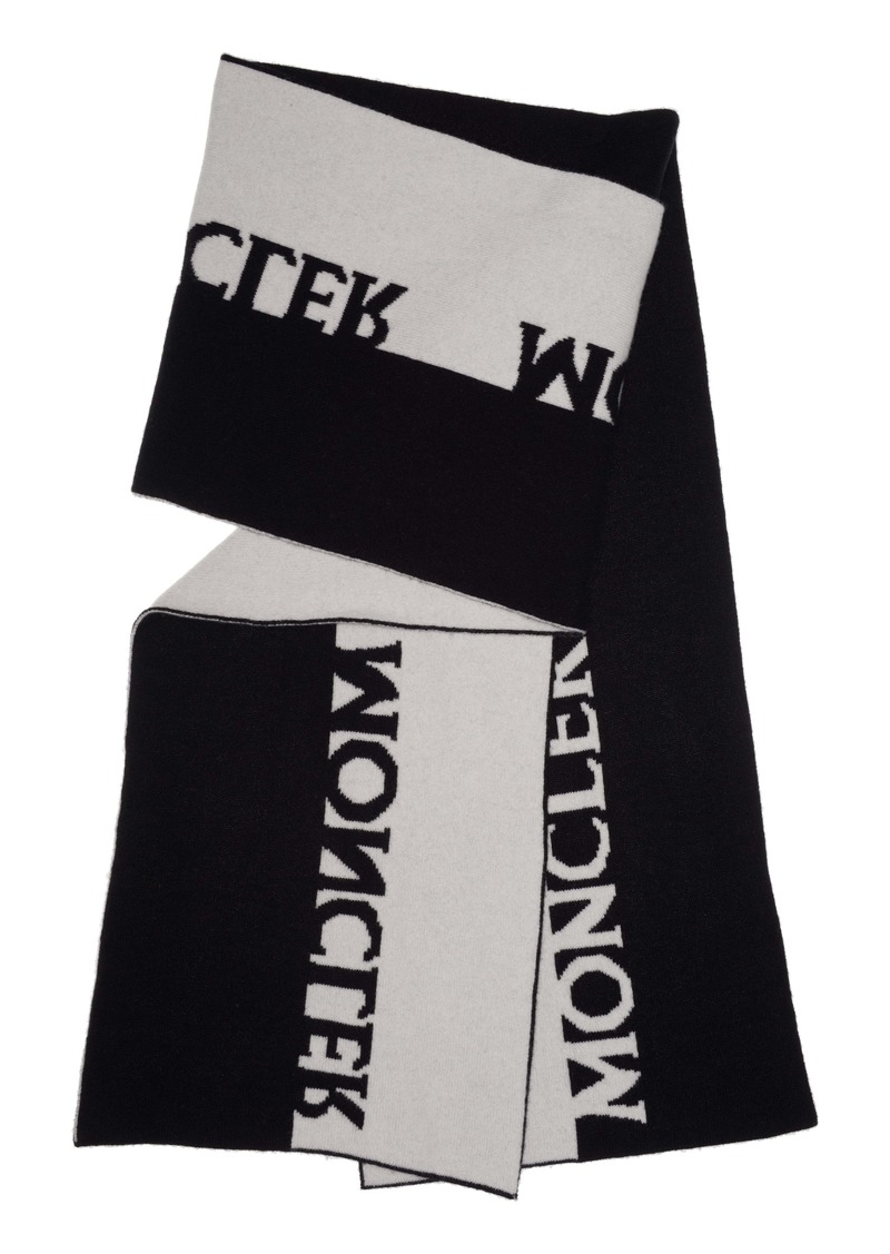 Moncler Bicolor Logo Wool & Cashmere Scarf