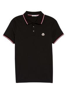 Moncler Black Short Sleeve Piqué Polo