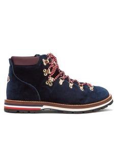 Moncler Blanche velvet lace-up mountain boots