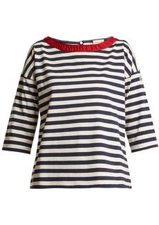 Moncler Boat-neck striped cotton T-shirt