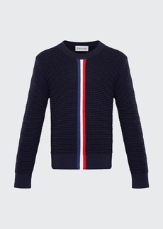 Moncler Boy's Textured Crewneck Sweater w/ Center Stripe  Size 4-6