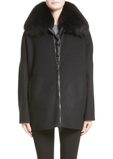 Moncler Buxus Wool & Cashmere Coat with Removable Genuine Fox Fur Trim Vest