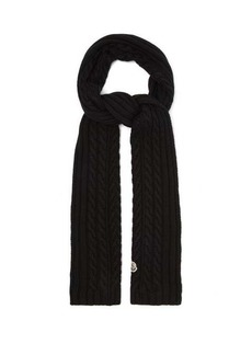 Moncler Cable-knitted wool scarf