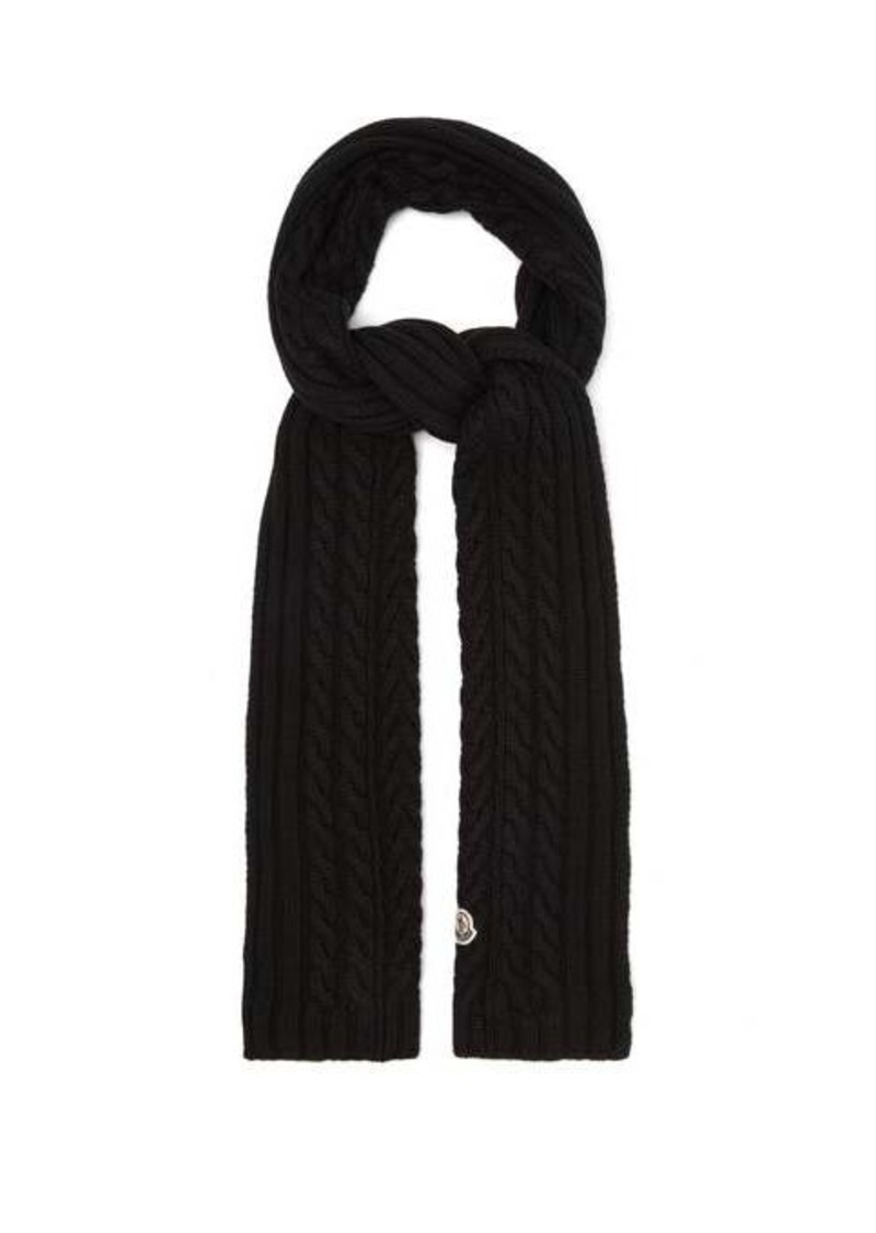 Moncler Cable-knit wool scarf