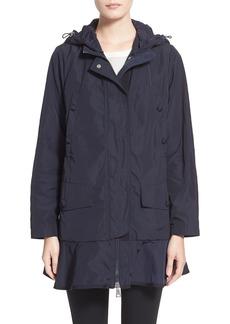 Moncler 'Chevaine' Water Resistant Peplum Hem Long Rain Coat