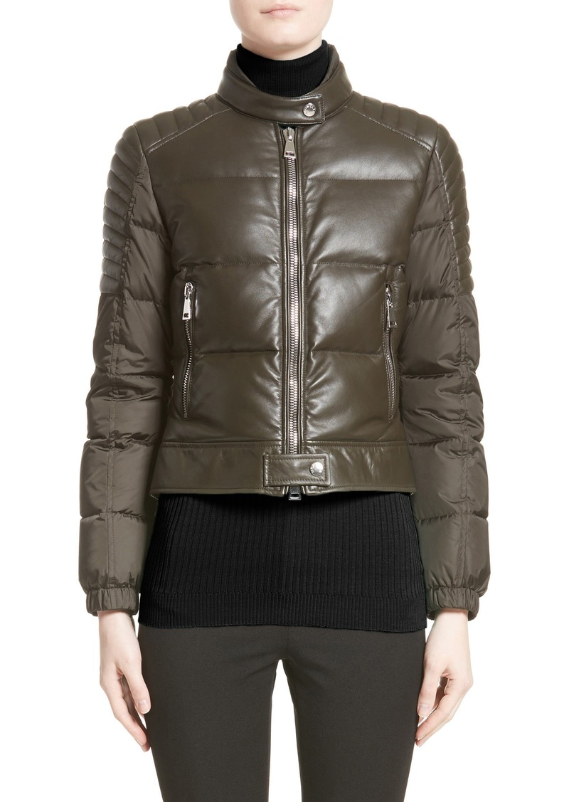 e4d5ded71a38 Moncler Moncler Clematis Leather Trim Down Puffer Jacket