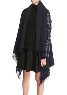 Moncler Combo Fringe Cape W/ Puffer Sleeves