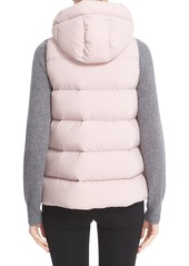 Moncler Comte Water Resistant Down Vest with Genuine Shearling Trim