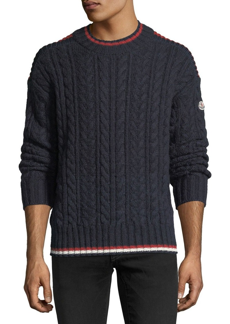 64004eedd41e Moncler Contrast-Trim Cable-Knit Sweater