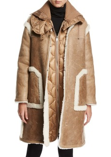 Moncler Cotoneaster Leather Shearling-Trim Jacket w/ Quilted Puffer Vest