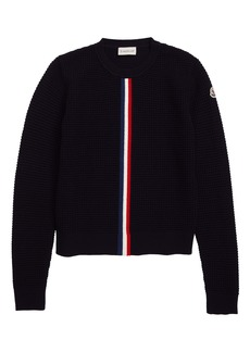Moncler Crewneck Waffle Stitch Wool Sweater (Little Boy & Big Boy)