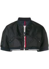 Moncler cropped short sleeve bomber jacket - Blue