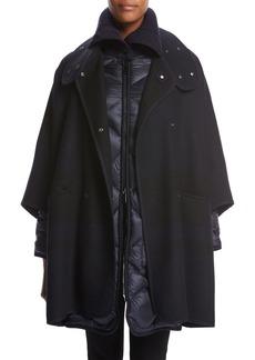 Moncler Dianthus Wool-Knit Cape W/ Puffer Jacket