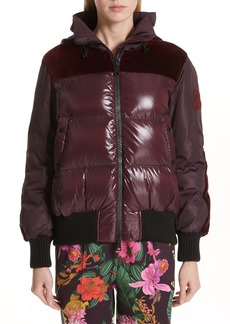 Moncler Elanion Velvet Trim Down Puffer Coat