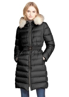 Moncler 'Fabrefox' Belted Puffer Coat with Genuine Fox Fur Ruff